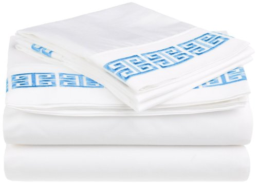 100% Cotton Greek Key Embroidery, 4-Piece Full Kendell Bed Sheet Set, White/ Light Blue