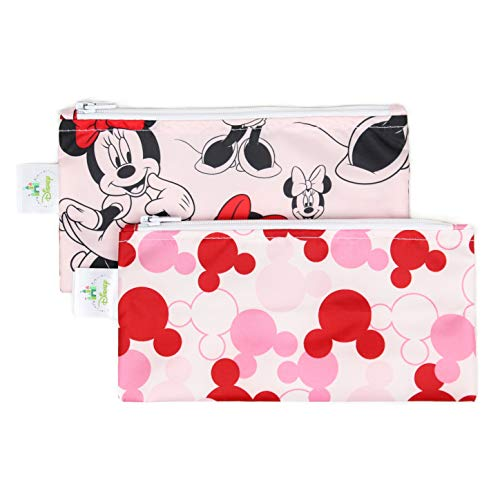 Bumkins Disney Minnie Mouse Snack Bags, Reusable, Washable, Food Safe, BPA Free, Pack of 2