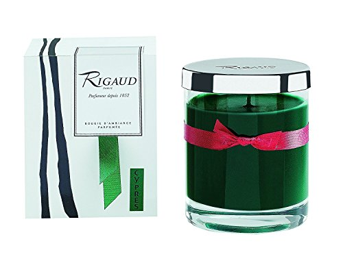 Rigaud Cypres Bougie D'ambiance Parfumee, Medium Candle Modele Complet with Metal Snuffer Lid, Green, 5.6 Oz, 60 Hour Burn Life