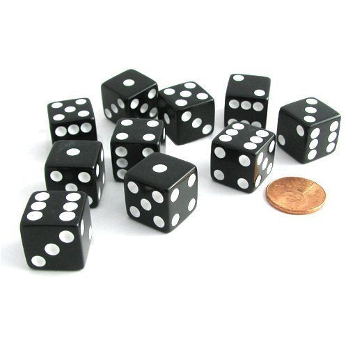 Set of 10 Six Sided D6 16mm Standard Dice Black by Koplow Games