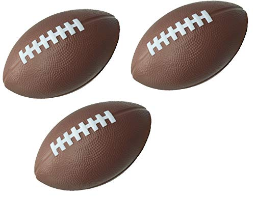 "LMC Products Foam Football - 7.25"" Kids Football - Small Footballs for Kids –Mini Football 3 Pack (Brown)"