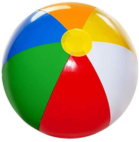 4E's Novelty Beach Balls for Kids [6 Pack] Large 20 inch Inflatable Beach Ball, Rainbow Color - Pool Toys for Kids, Beach Toys, Summer Toys, Summer Birthday Party Favors