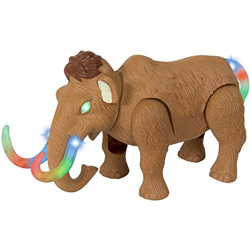 Liberty Imports Electronic Walking and Moving Woolly Mammoth Prehistoric Ice Age Animal Figure Toy Elephant with Lights and Sounds (Colors Vary)