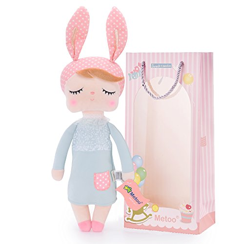 Plush Baby Bunny Doll Girl Gifts Soft First Dolls Easter Angela Girls Toy Grey 13 Inches + Gift Bag
