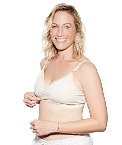 The Dairy Fairy Arden- All-in-One Nursing and Hands-Free Pumping Bra, NAKED Cream, Large