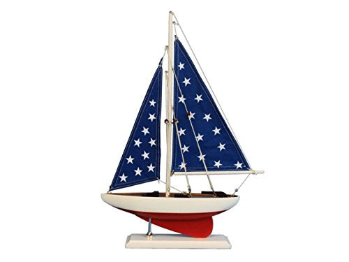 Hampton Nautical Wooden Patriotic Sailer Model Sailboat Decoration, 17