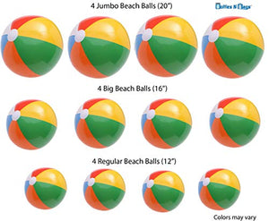 "12 Beach Balls Variety Size Pack | 4 of Each in 3 Sizes | 20"" Ball 16"" Ball 12"" Ball 