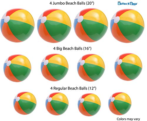 12 Beach Balls Variety Size Pack | 4 of Each in 3 Sizes | 20