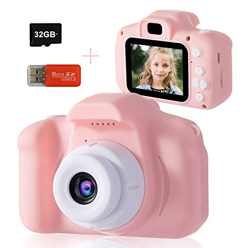 Kids Camera, DDAD Digital Video Camera Gifts for Boys and Girls, Toddler Video Recorder Mini Rechargeable and Shockproof Camera Creative DIY Camcorder for Children 3-8 Years Old(32GB SD Card Included)