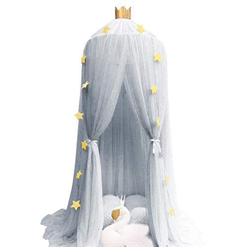 Dix-Rainbow Bed Canopy Yarn Play Tent Bedding for Kids Reading Playing with Children Round Lace Dome Netting Curtains Baby Boys and Girls Games House - Gray