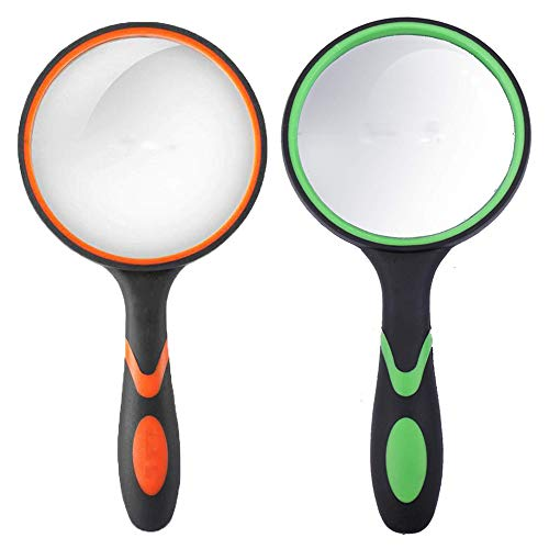iRunning 2-Pack 4X Magnifying Glass, Handheld Reading Magnifier 75mm Magnifying Glass Lens, Thickened Rubbery Frame with Non-Slip Soft Handle for Book Reading,Insect and Kids Hobby Observation