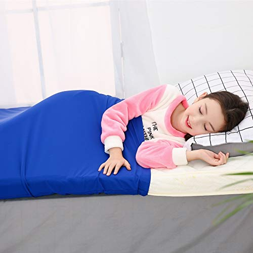 BUZIO Pouch Sensory Bed Sheet for Kids - Compression Alternative to Weighted Blanket, Breathable, Stretchy, Adjustable, Twin, Royal Blue