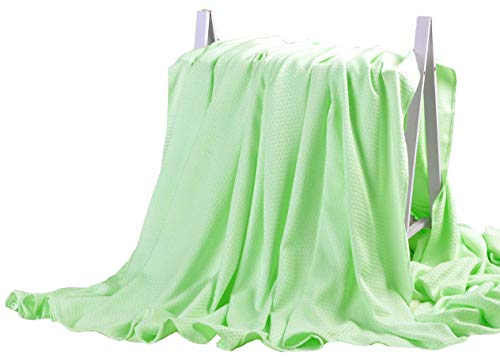 DANGTOP Cooling Blankets, Cooling Summer Blanket for Hot Sleepers, Ultra-Cool Cold Lightweight Light Thin Bamboo Blanket for Summer Night Sweats (59X79 inches,Small Green)