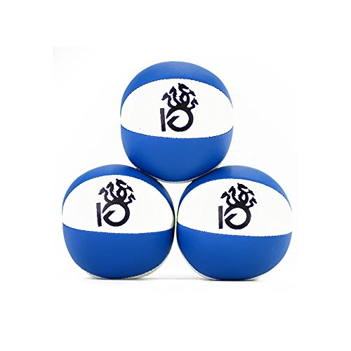KickFire Hydras Juggling Balls 6 Panel Leather Juggling Equipment for Beginners & Professionals | Fits of Hands | Set of 3 Blue White