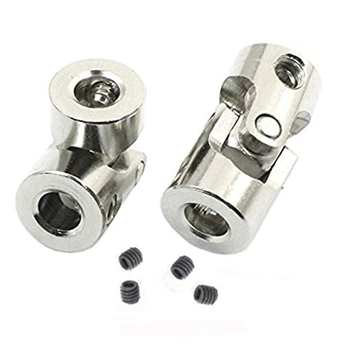 2 Pack Universal Joint Shaft Coupler Coupling Steering Connector for RC Car Crawler Boat,5mm to 5mm