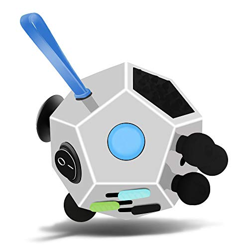 Fidget Dodecagon –12-Side Fidget Cube Relieves Stress and Anxiety Anti Depression Cube for Children and Adults with ADHD ADD OCD Autism (A2 White)