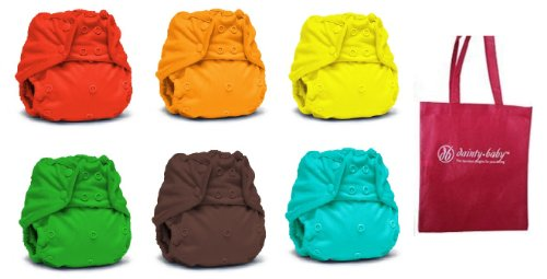 Rumparooz One Size Cloth Diaper Covers, 6 pack, Gender Neutral Colors with Reusable Dainty Baby Bag Bundle (Snap) (Neutral Colors May Vary)