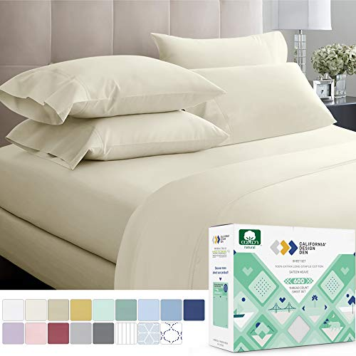 600 Thread Count 100% Cotton Sheets – Ivory Extra Long-staple Cotton Twin Sheets for Kids & Adults, Fits Mattress 15'' Deep Pocket, Sateen Weave, Soft Cotton 3 Piece Bed Sheets Set