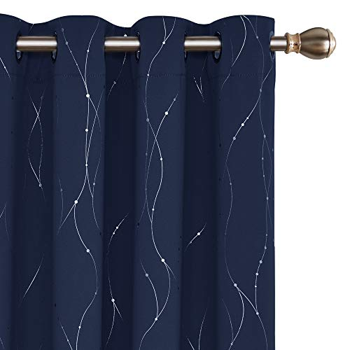 Deconovo Blackout Curtains Grommet Top Drapes Wave Line and Dots Printed Bedroom Blackout Curtains for Living Room and Bedroom 52 x 95 Inch Navy Blue 2 Panels