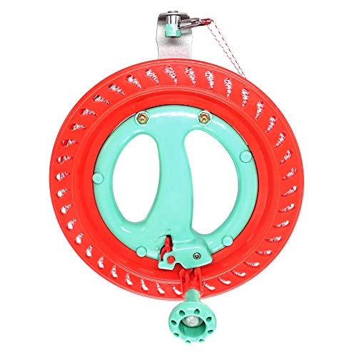 emma kites 7inch Lockable Kite Reel Winder with Durable Dacron Kite Line Red Smooth Rotation Ball Bearing Tool for Single Line Delta Diamond Kite