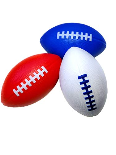 "LMC Products Foam Football - 7.25"" Kids Football - Small Footballs for Kids –Mini Football 3 Pack (Red, White, Blue)"