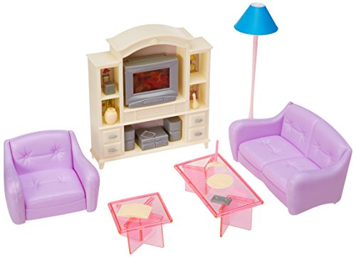 My Fancy Life 24012 Dollhouse Furniture, Living Room with TV/DVD Set and Show Case Play Set