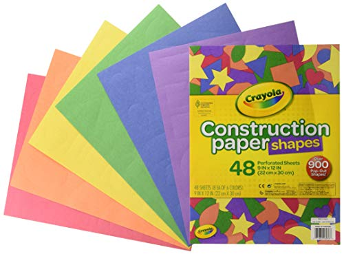 Crayola Construction Paper Shapes, Over 900 Precut Shapes, Kids Craft Supplies