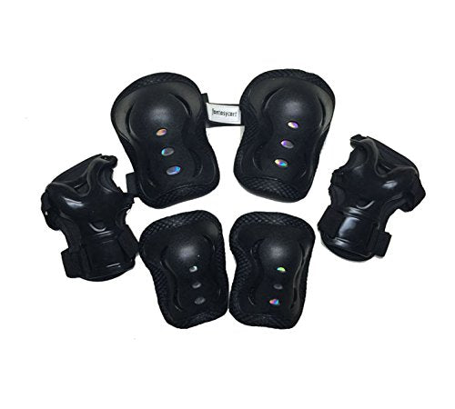 Fantasycart's Kid's Roller Blading Wrist Elbow Knee Pads Blades Guard 6 PCS Set in Black