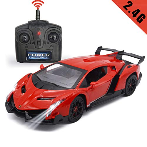 QUN FENG Electric RC Car-Lamborghini Veneno Radio Remote Control Vehicle Sport Racing Hobby Grade Licensed Model Car 1:24 Scale for Kids Adults (Red)