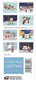 USPS Charlie Brown Xmas Pane of 20 Forever Postage Stamps Scott 5021-30