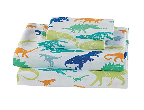 Mk Home 3pc Twin Size Sheet Set for Boys Dinosaurs Green Blue Orange White New