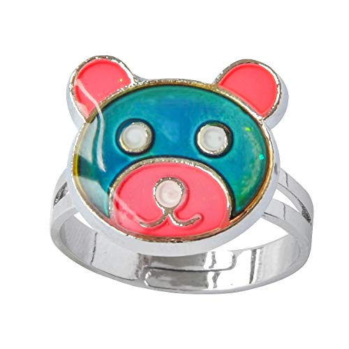 Acchen Mood Ring Bear Changing Color Emotion Feeling Finger Ring with Gift Box (Bear)