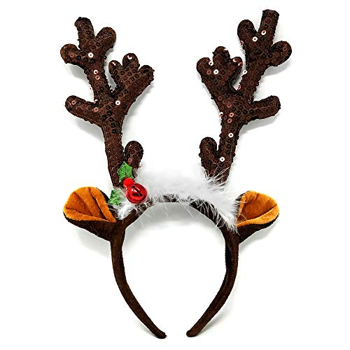 NorNovelties Christmas Reindeer Antlers Headband – For Holiday Party Or Rudolph & Santa Costume