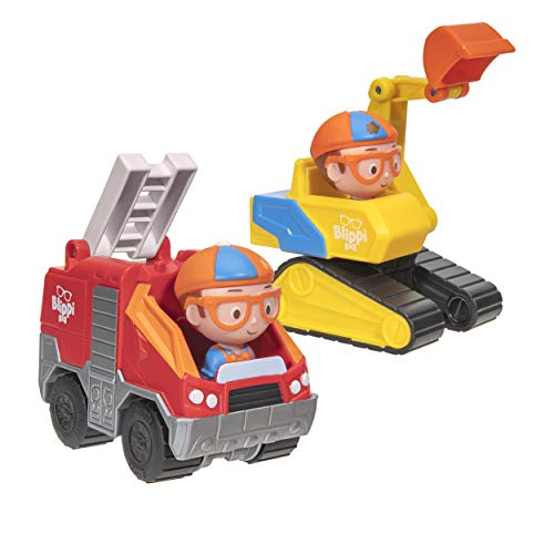 Blippi Mini Vehicles 2 Pack, Excavator and Fire Truck