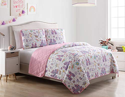 Kute Kids Unicorn Magic Castle Quilt Set, Includes Sham(s) Design Features a Castle, Rainbow, Crown and Unicorn 芒聙聯 Available in Twin & Full/Queen (Twin)