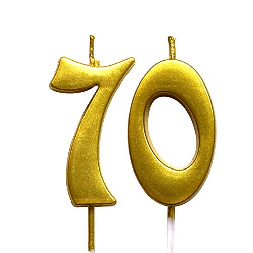 Gold 70th Birthday Numeral Candle, Number 70 Cake Topper Candles Party Decoration for Women or Men