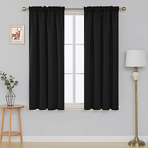 Deconovo Black Blackout Curtains Rod Pocket Room Darkening Thermal Insulated Window Curtains for Bedroom 42W x 45L Inch Black 2 Panels