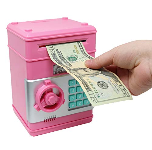 Smart Novelty Kids Electronic Piggy Bank Safe with Password Mini ATM Bank - Electronic Money Bank with Code for Kids Gifts (Pink)