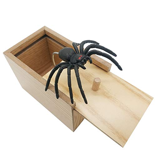 DE Spider Prank Scare Box,Wooden Surprise Box,Handmade Fun Practical Surprise Joke Boxes,Gags & Practical Joke Toys Halloween