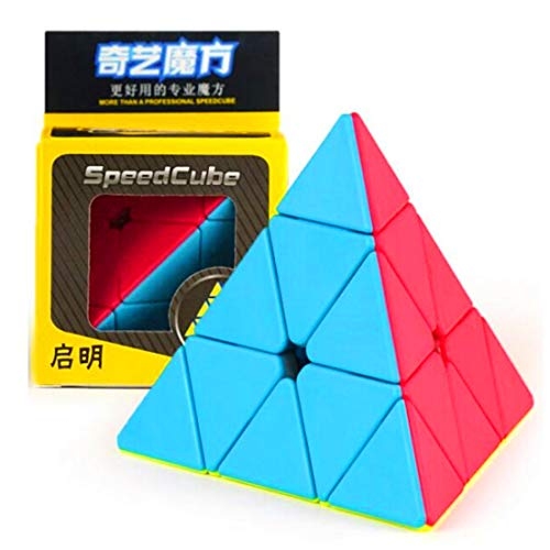 CuberSpeed QiYi Qiming Pyramid Stickerless Magic Cube MoFangGe Qiming Pyramid Stickerless Speed Cube
