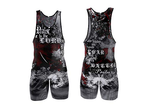 4 Time All American Psalm 144:1 Red Wrestling Singlet Size M