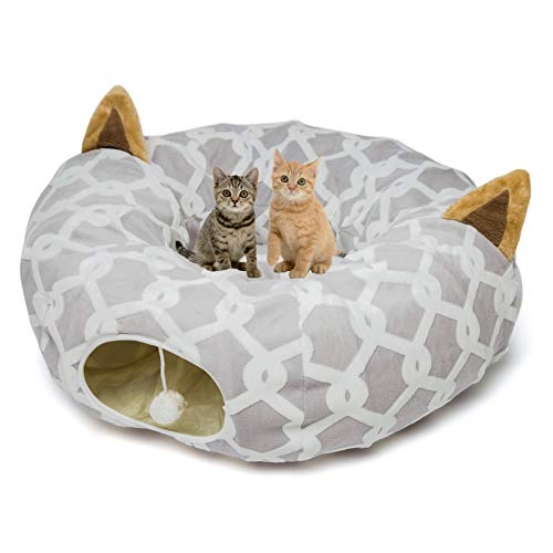 Large Cat Dog Tunnel Bed with Washable Cushion-Big Tube Playground Toys Plush 6 FT Diameter Longer Crinkle Collapsible 3 Way,Gift for Small Medium Large Kitten Puppy Rabbit Ferret Outdoor Grey Gray
