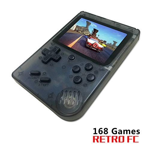 BAORUITENG Handheld Game Console , Retro FC Game Console 3 Inch Screen 168 Classic Games TV Output Game Player , Birthday Present for Children (Transparent Black)