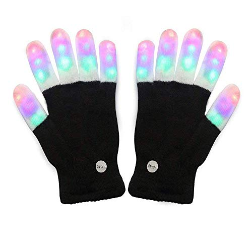 Amazer Light Gloves Adult and Big Children's Finger Light Flashing LED Warm Gloves with Lights for Halloween Birthday Light Party Christmas Xmas Dance Thanksgiving Day Gifts for More Fun- Black