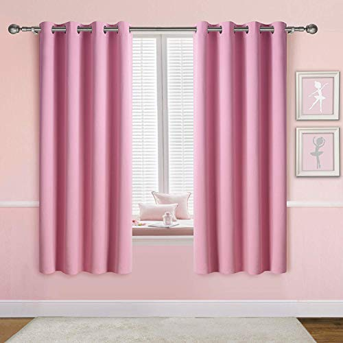 Anjee Pink Blackout Curtains for Girls Bedroom 45 Inches Length Blush Solid Plain Window Drapes Thermal Insulated Drapery Room Darkening Lavender Panels, Purple 52x45 Inches