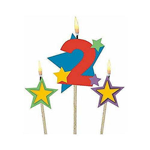 #2 Decorative Birthday Candle & Star Candles | Party Supply, Multi Color, (Pack of 3) 5