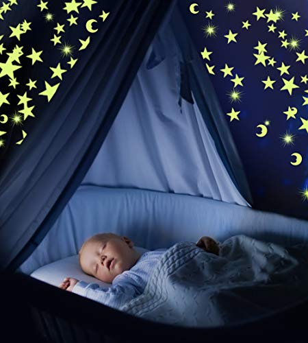 Glow in The Dark Stars & Moon Pack of 300 | Fluorescent Ceiling Stars for Kids | Estrellas Fluorescentes para Ni�os | Glow Moon and Stars Set for Bedrooms and Nurseries