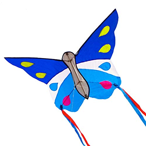 Besra Huge Butterfly Kite Single Line Easy to Fly Insect Nylon Kite with Handle and Strings for Kids and Adults (Blue)
