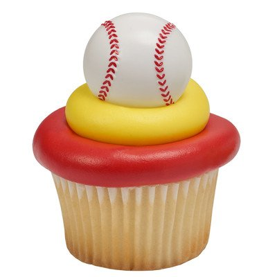 National Cake Supply 3D Baseball Cupcake Rings, White