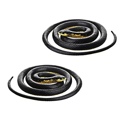 DE Realistic Rubber Black Mamba Snake Toy Garden Props 52 Inch Long,Set of 2